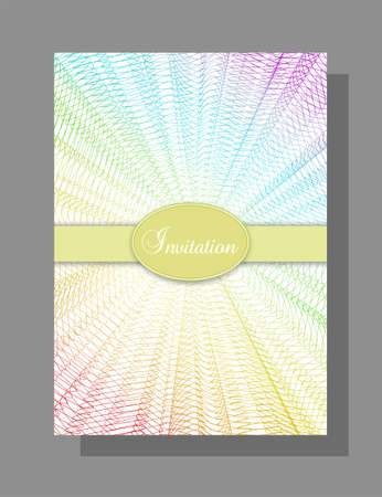 Invitation, gift certificate design. Multicolored line art pattern. Rainbow net. Abstract background. Layout A4. Creative template for voucher, coupon, brochure, disco party, music festival promotional materials. EPS10 illustration