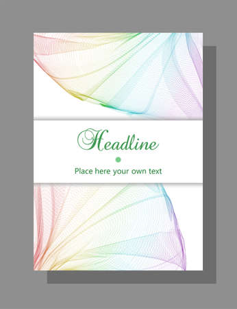 Book, magazine cover design. Vector template for catalog, brochure, booklet, portfolio, leaflet, poster, flyer. Layout A4. Rainbow net pattern. White horizontal card for a headline. Abstract background. EPS10 illustration Çizim