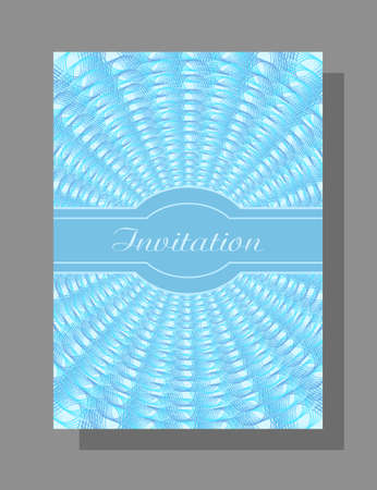 Blue colored invitation with openwork line art pattern. Flat design. Abstract vector background. Elegant template A4 for gift card, coupon, certificate, Christmas party, New year postcard, music festival.