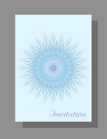 Invitation concept with openwork snowflake. Vector blue line art pattern, flat design. Winter abstract background. Elegant template A4 for gift card, coupon, Christmas party, New year postcard, brochure. Çizim