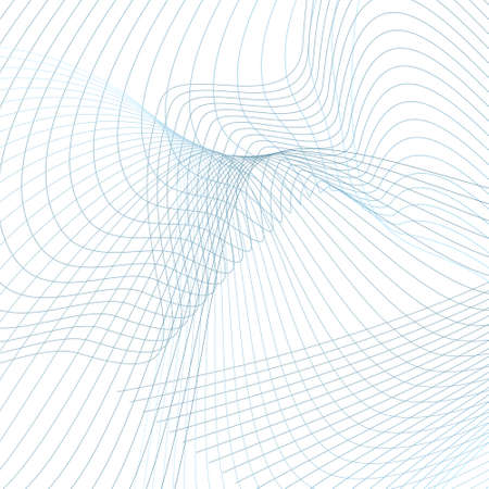 Futuristic blue wavy lines on a white background. Curved space concept. Sound, radio waves. Squiggly thin curves. Industrial style. Abstract technology design. Vector grid pattern. EPS10 illustration