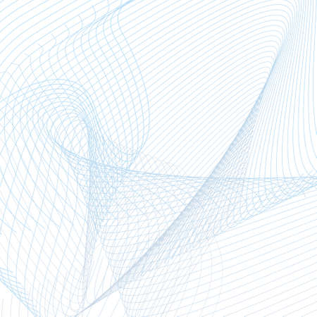 Lighrt blue squiggle lines on a white background. Curved space concept. Sound, radio waves. Wavy subtle curves. Industrial style. Abstract geometric composition, vector technology design. Grid pattern. EPS10 illustration