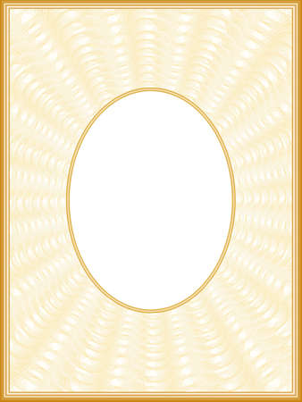 Beige passe-partout with oval frame. Border design with golden sun beams. Creative line art pattern. Vector abstract background. Template A4 for album page, certificate, diploma, invitation. EPS10 illustration