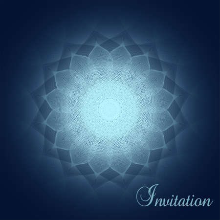 Glowing mandala on a dark blue background. Elegant invitation with vignette. Vector abstract line art pattern. Stylish design for greeting card, voucher, book cover, brochure. EPS10 illustration Çizim