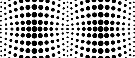 Black and white halftone background. Concept of optical illusion. Symmetric dotted pattern. Monochrome spotted curves. Technology graphic. Vector abstract op art design.