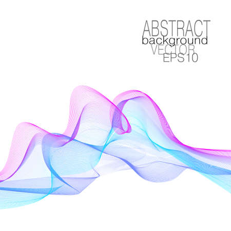Magenta, blue, cyan curved lines. Elegant waves of soft gradient. Dynamic line art pattern. Flowing veil. Multicolored fluid concept. Squiggle thin curves. Vector abstract design. White background. Çizim