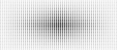 Symmetrical halftone pattern. Audio equalizer concept. Black spots on a white background. Vector monochrome dotted straight lines. Abstract digital graphic. Technology design. Optical illusion. EPS10 illustration