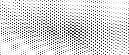 Black and white halftone concept. Vector spotted monochrome pattern. Dotted curved lines. Asymmetrical bw background. Abstract digital graphic. Technology design. Optical illusion. EPS10 illustration