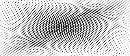 Halftone banner concept. Black spots on a white background. Vector monochrome pattern. Dotted curved lines. Abstract digital graphic. Technology design. Asymmetrical bw composition. Optical illusion. EPS10 illustration