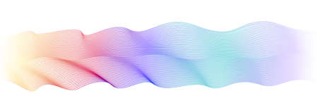 Multicolored undulating lines, ribbon imitation. Flowing waveform. Violet, teal, blue, maroon, orange, yellow gradient. Elegant wave pattern. Abstract vector striped design element. White background. EPS10 illustration Çizim