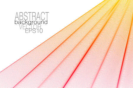 Red, yellow pleated net. Draped curtain, white background. Thin wavy lines, squiggle curves. Vector abstract wave pattern. Elegant design. Template for business card, book cover, poster, landing page. EPS10 illustration Çizim