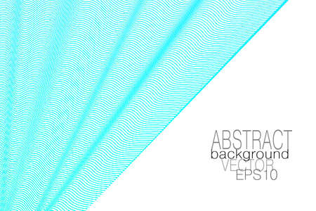 Aquamarine, light blue draped curtain, white background. Waving veil. Subtle squiggle curves. Vector abstract wave pattern. Line art design. Template for business card, catalog, corporate identity, landing page. EPS10 illustration