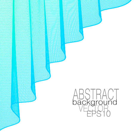 Light blue draped curtain, elegant folds. Theater stage concept. Lightweight veil. Wavy curves. Vector abstract wave pattern. Line art design, white background. Template for catalog, book cover, poster. EPS10 illustration