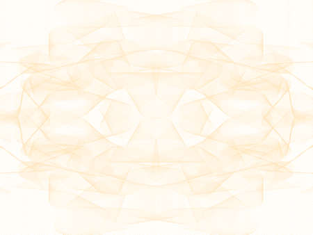 Light golden kaleidoscope watermark. Elegant line art ornament. Pastel pattern, guilloche design. Vector template A4 for passport, certificate, diploma, gift card. Abstract background. Landscape orientation. EPS10 illustration