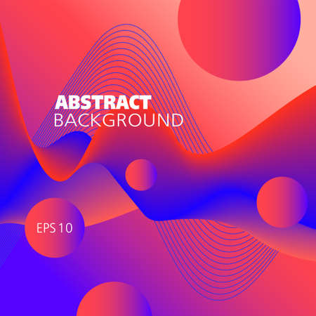 Liquid pattern, vector background. Bright red, blue fluid. Abstract wave and flying spheres. 3d shape, motion illusion. Futuristic design for decor, smart concepts, website templates, promotion materials. EPS10 illustration Çizim