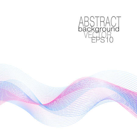 Blue, pink flowing waves. Multicolored curved lines. Dynamic waveform of soft gradient. Airy line art design. Flying glowing veil, undulating lines. Vector abstract pattern. White background. illustration Çizim