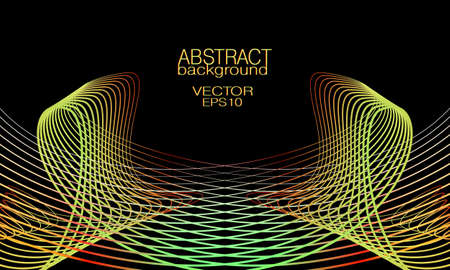 Symmetric wave pattern of yellow, red, green lines. Black background. Abstract waveform. Vector thin curves. Bright colored gradient. Tech design element for landing page, banner, poster, leaflet, flyer, website. EPS10 illustration Çizim