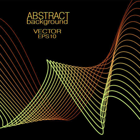 Yellow, red wavy lines. Abstract wave pattern. Vector squiggly curves. Black background. Bright colored gradient. Technology design element for landing page, banner, poster, leaflet, flyer, website. EPS10 illustration Çizim