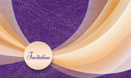 Invitation template in orange, white, purple. Round frame for text. Transparent colored curved shapes, bright background with dots. Elegant abstract pattern, soft gradient. Vector design for landing page, gift card, brochure cover. EPS10 illustration Stock Illustratie