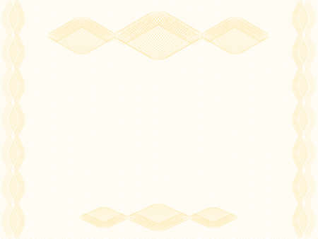 Elegant background decorated with rhombus border, copy space. Golden guilloche, watermark pattern, thin lines. Abstract design. Vector template A4 for certificate, diploma, passport, gift card, landscape orientation. EPS10 illustration Stock Illustratie