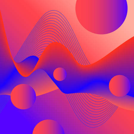 Liquid 3D pattern. Futuristic red, blue wave and flying spheres. Abstract colored fluid background. Transformation concept. Creative design for brochure cover, website template, promotion materials