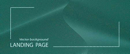 Green banner, presentation, landing page template. Wave dotted pattern. Abstract background with light spots. Vector technology lines. Digital data concept. Simple design for website, voucher, coupon, flyer. EPS10 illustration