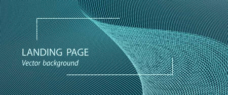 Turquoise landing page, banner template. Textured background with light particles. Vector dotted lines. Techno wave pattern, digital data concept. Abstract design for presentation, website, voucher, coupon, flyer. EPS10 illustration