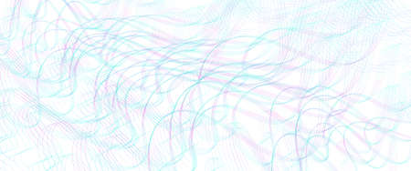 Teal, purple ripple subtle lines. Wavy tangled, squiggly curves. Abstract vector background. Textured pattern. Template design for banner, landing page, check, gift card, certificate. Pencil drawing imitation. EPS10 illustration Stock Illustratie