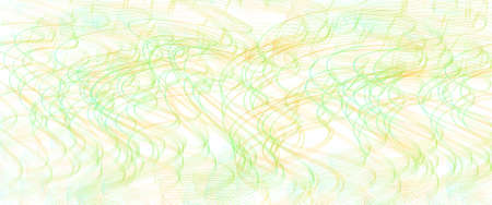 Bright green, orange thin squiggle lines. Tangled wavy curves. Abstract vector background. Textured pattern. Template design for banner, landing page, check, gift card, certificate. Pencil drawing imitation. EPS10 illustration