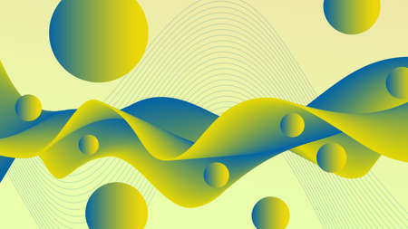 Abstract green-yellow, blue snaking fluid. Flowing wave and flying spheres, liquid pattern. 3d shapes. Futuristic design. Creative background. Template for landing page, flyer, poster, leaflet, promotion materials, decor