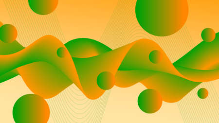 Bright orange, green wavy fluid. Colored background. Abstract wave pattern and flying spheres. Flowing 3d shape, motion illusion. Futuristic design. Template for landing page, flyer, poster, promotion materials