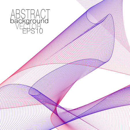 Red, dark blue flying veil, net texture. Transparent textile. Abstract design. Line art pattern. Thin squiggle curves. White background. Vector template for brochure, leaflet, book cover, flyer, invitation. EPS10 illustration Stock Illustratie