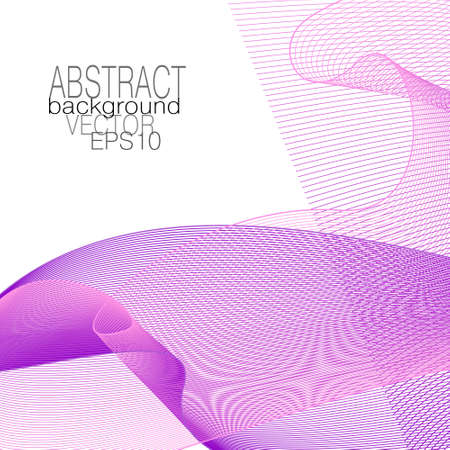 Bright purple, pink fantasy veil, net texture. Transparent fabric. Abstract design. Line art pattern. Subtle squiggle curves. White background. Vector template for brochure, leaflet, book cover, flyer, invitation. EPS10 illustration