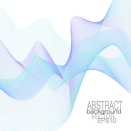 Flying blue, violet, aquamarine veil. Squiggle colored thin curves. Airy line art pattern. Vector abstract net design. Dynamic waveform, soft moire. Elegant scarf. Transparent cloth. White background. EPS10 illustration