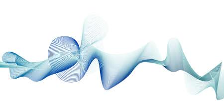 Dark blue, teal abstract squiggle. Subtle curves. Dynamic line art pattern. White background. Flowing wave, soft gradient. Vector creative design element. Technology concept. EPS10 illustration Stock Illustratie