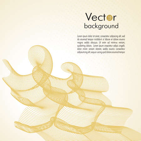Golden colored line art pattern. Abstract decorative element, smooth gradient background. Transparent net texture. Vector thin squiggle curves. Creative curled lines, swirls. Template design for brochure cover, book page, flyer, poster. EPS10 illustration Stock Illustratie
