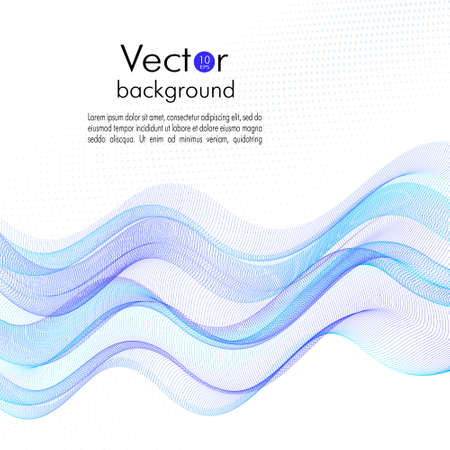 Flowing bright blue waves. Line art pattern, dynamic fluid. Abstract squiggle thin curves. Transparent net, veil texture. Motion concept. White background. Vector template design for brochure cover, book page, flyer, poster. EPS10 illustration