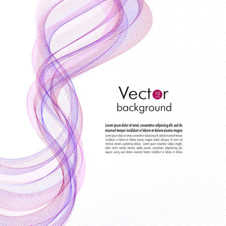 Flying red, violet, pink, blue waves. Abstract line art dynamic pattern. Squiggle thin curves. Transparent net, veil texture. Motion concept. White background. Vector template design for brochure cover, book page, flyer, poster. EPS10 illustration