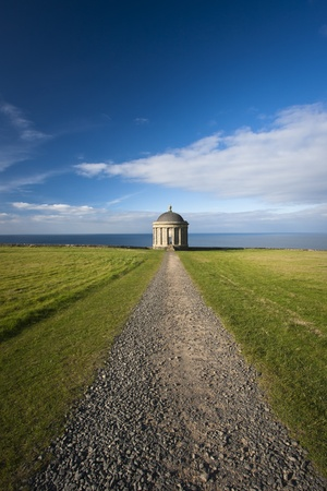 Stony pathway leading to clifftop site of Mussenden Temple on the north coast of Ireland. Stockfoto - 8895338