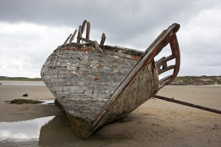 beached: Skeletal remains of a boat beached on the Irish coast.