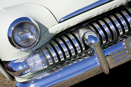 Chrome grille on a classic car