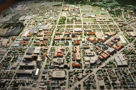 diorama: College town aerial view