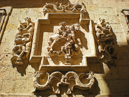 buttresses: Shield in the Cathedral of Santa Maria de Segovia, Spain Stock Photo