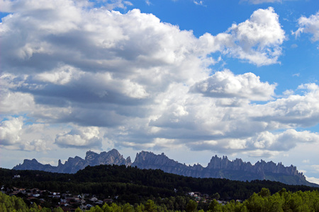 escalation: Silhouette of the mountain of Montserrat in Catalonia, Spain