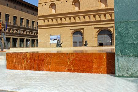 pillage: Marble fountain in Plaza del Pilar, Zaragoza (Spain) Stock Photo