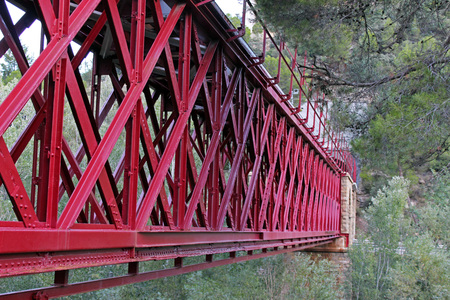 dilate: Red iron bridge and destinations nearby train tracks