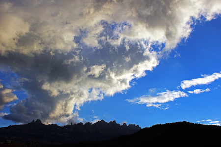 escalation: Silhouette of the mountain of Montserrat Catalonia, Spain