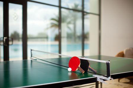 ping pong: Tenis de mesa dos o raquetas y pelotas sobre una mesa verde con neto, piscina, palm �rbol y mar de fondo  Foto de archivo