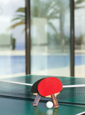 Two table tennis or rackets and balls on a green table with net, swimming pool, palm tree and sea in the background Stock Photo