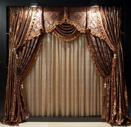 tassels: Luxurious old-fashioned designer window curtains with flowers in brown and white